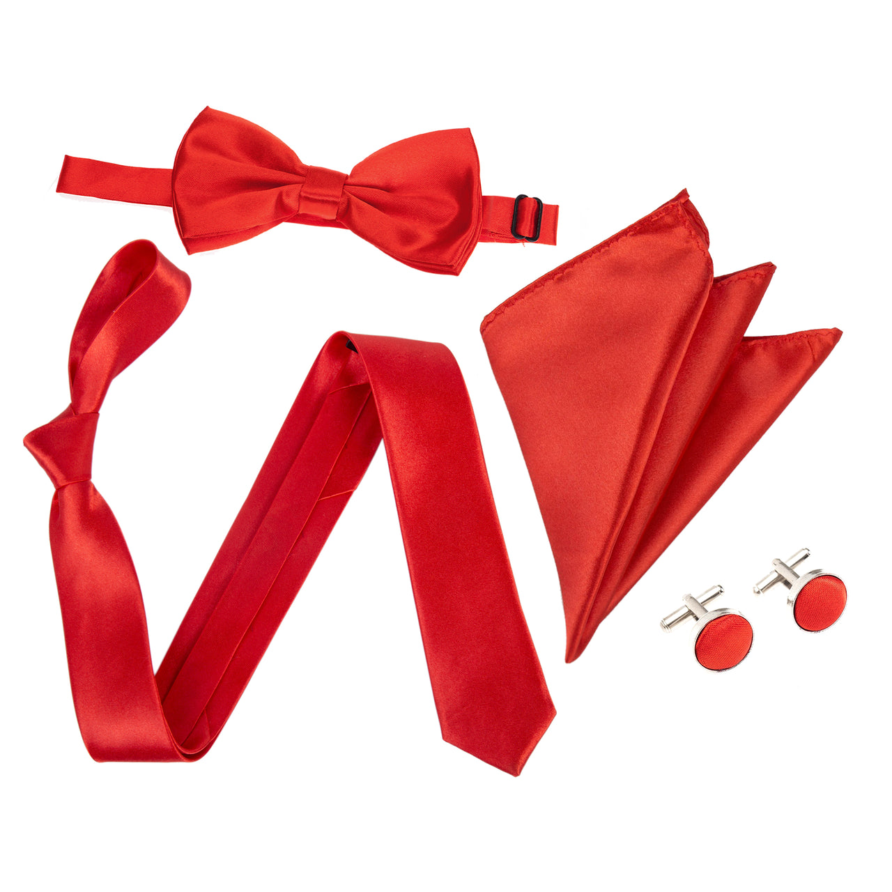 "4pc Tie Set: Slim 2"" Tie, Bow Tie, Handkerchief & Cufflinks - Red"