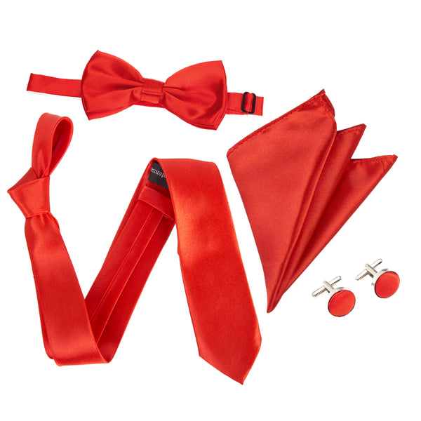 "4pc Tie Set: Wide 3"" Tie, Bow Tie, Handkerchief & Cufflinks - Red"