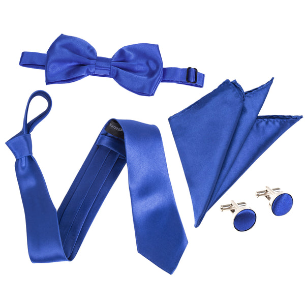 "4pc Tie Set: Wide 3"" Tie, Bow Tie, Handkerchief & Cufflinks - Royal Blue"
