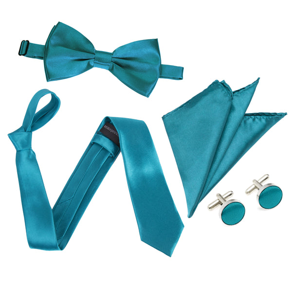 "4pc Tie Set: Wide 3"" Tie, Bow Tie, Handkerchief & Cufflinks - Teal"