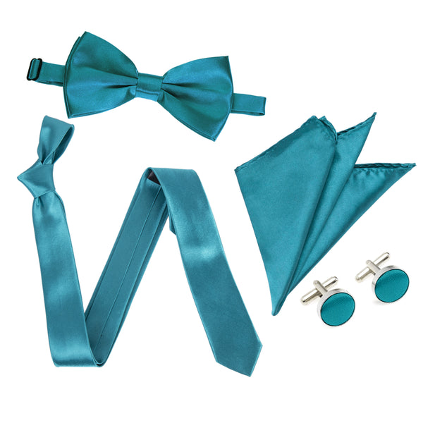 "4pc Tie Set: Slim 2"" Tie, Bow Tie, Handkerchief & Cufflinks - Teal"
