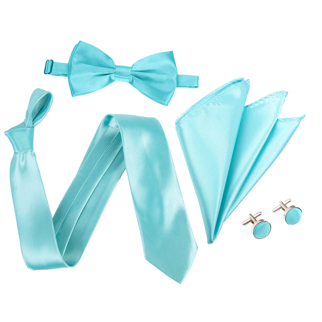 "4pc Tie Set: Wide 3"" Tie, Bow Tie, Handkerchief & Cufflinks - Turquoise"