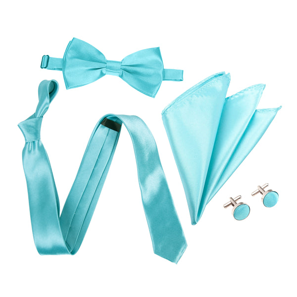 "4pc Tie Set: Slim 2"" Tie, Bow Tie, Handkerchief & Cufflinks - Turquoise"