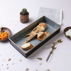 BLACK AND GREY SERVER TRAY