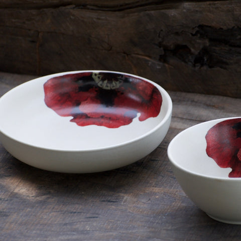 MIDNIGHT IN MASHOBRA - SCARLET SINGLE MEAL & SHALLOW BOWL (1 EACH)