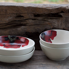 MIDNIGHT IN MASHOBRA - SCARLET SINGLE MEAL & SHALLOW BOWLS (2 EACH)