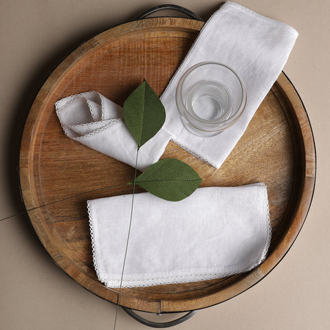 LINEN BASICS COCKTAIL NAPKINS WHITE - S/8