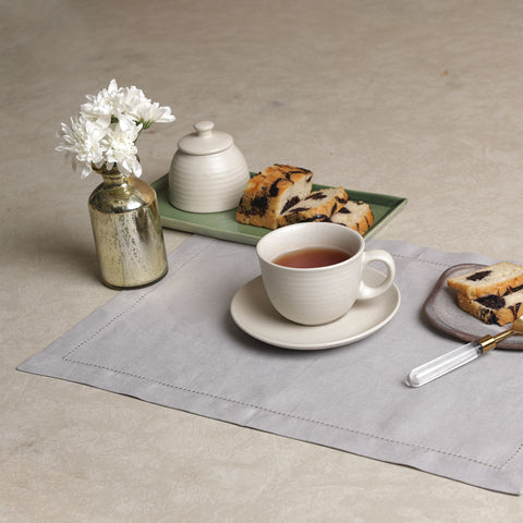 LINEN BASICS TABLE MAT ASH GREY - S/6