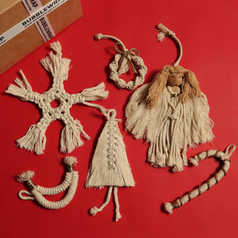 'TIS THE SEASON CHRISTMAS ORNAMENTS - 6 WHITE MACRAME ORNAMENTS