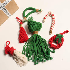 'TIS THE SEASON CHRISTMAS ORNAMENTS - 6 RED AND GREEN MACRAME ORNAMENTS