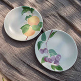 POSTCARDS FROM SIMLA - PLUM AND APRICOT APPETIZER PLATES (2 EACH) - SET OF 4