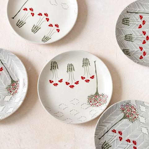 OLD ENGLISH GARDEN MIXED QUARTER PLATES - S/6