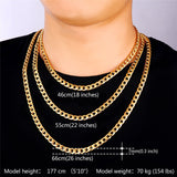 """Miami"" Cuban Link Chain & Bracelet Bundle in Gold on display with length descriptions"