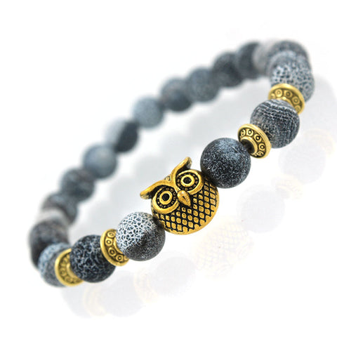 "1KingBrand ""Awoken Owl"" men's fashion bracelet, nature gold owl."