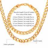 """Miami"" Cuban Link Chain & Bracelet Bundle in Gold with length descriptions"