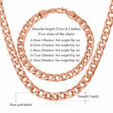 """Miami"" Cuban Link Chain & Bracelet Bundle in Rose Gold with length descriptions"