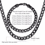 """Miami"" Cuban Link Chain & Bracelet Bundle in Black with length descriptions"