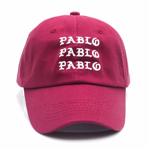 "1KingBrand, ""Pablo"" dad hat, experience this signature Kanye West stylish hat. Front view, wine red."