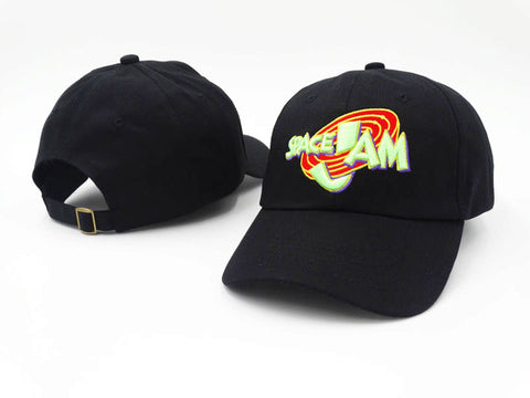 "1KingBrand legendary ""Space Jam"" dad hat. Based on the hit movie ""Space Jam"", Black color, front/back view"