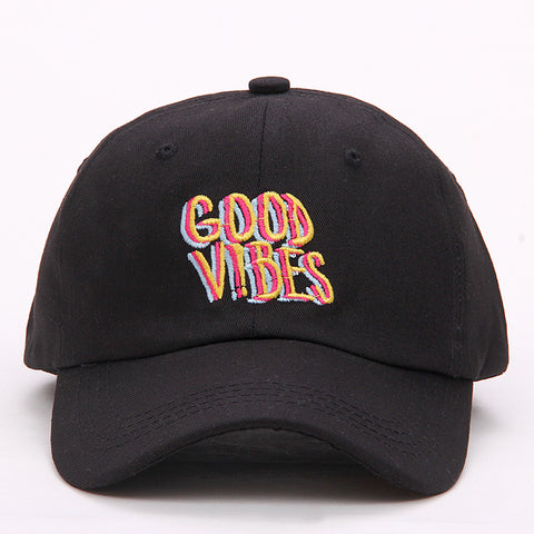 "1KingBrand ""Good Vibes"", 90's color scheme and vibe. Front view, black."