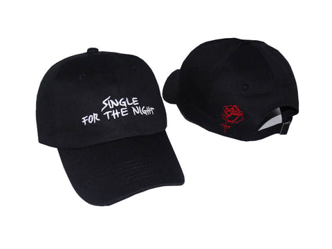 "1KingBrand ""Hall Pass"" dad hat. Front and back view, black."