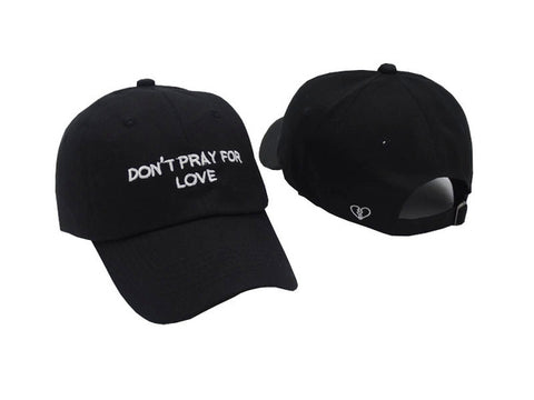 "1KingBrand ""No Love"" dad hat. Front and back view, black."