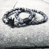 "Men's fashion, 1King 2 Piece ""Kingin"" Bracelet Set, grey."