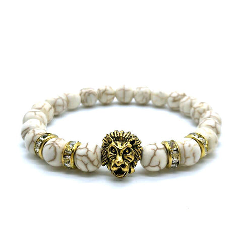 "1King ""Lions Roar"" Bracelet, Marble White, Gold"