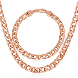 """Miami"" Cuban Link Chain & Bracelet Bundle in Rose Gold"