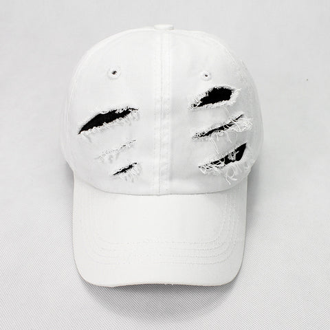 "1KingBrand ""Ripped"" Dad Hat, White front view."