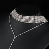 Silver Cleopatra Layered Rhinestone Choker Display