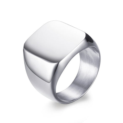 Poetic Stainless Steel Men's Ring in Silver