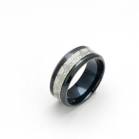 Freemason Ring in Black and Silver