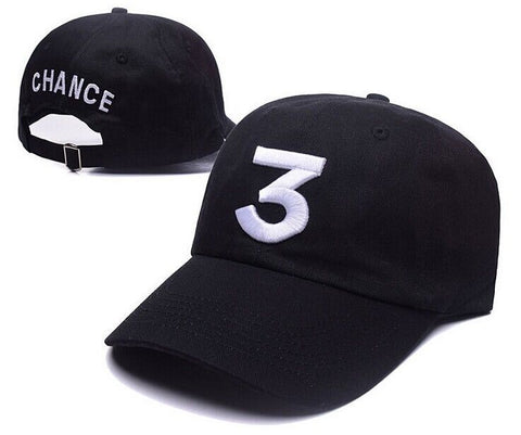 "1KingBrand, legendary ""Chance 3"" dad hat. Experience the lyrical genius of one of the greats with this exclusive dad hat. Front & back view, black."