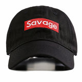 "1KingBrand, stylish savage dad hat. For those who are the ""real"" savages! Black front view"