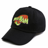 "1KingBrand legendary ""Space Jam"" dad hat. Based on the hit movie ""Space Jam"", Black color, side logo view"