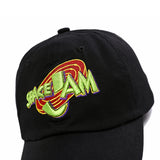 "1KingBrand legendary ""Space Jam"" dad hat. Based on the hit movie ""Space Jam"", Black color, zoomed in front view"