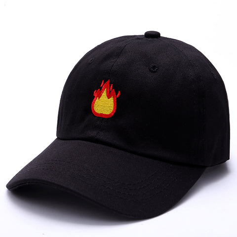 "1KingBrand, trendy and hot ""Fuego"" dad hat, front view, black."