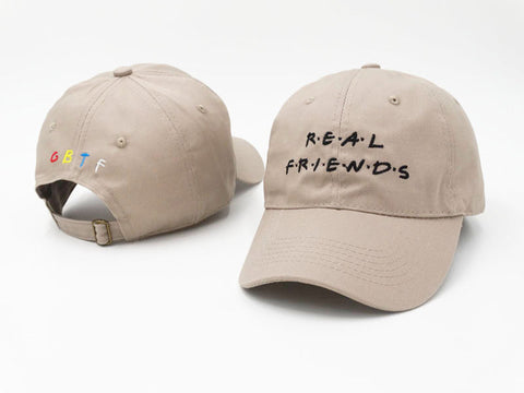 "1KingBrand ""Real Friends"" dad hat, front/back view, khaki color"