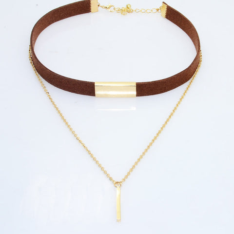 Maria's Gold - 2 Piece Choker with Brown