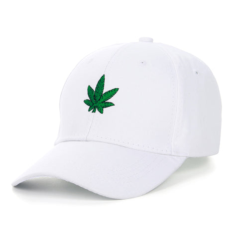 "1KingBrand ""4:20"" dad hat, trendy and top quality. White, hemp logo side view"