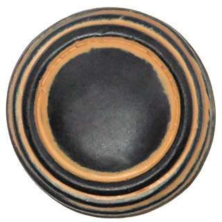 1 1/4 Inch Solid Pewter Ribbon & Reed Sonnet Knob & Backplate (Black Maple Finish)