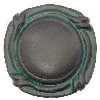 1 1/8 Inch  Ocean Seaside Nautical Solid Pewter Small Mai Oui Knob (Bronze Verde Finish)