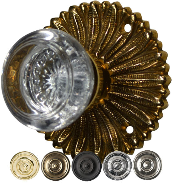 Hollywood Regency Round Crystal Door Knob Set