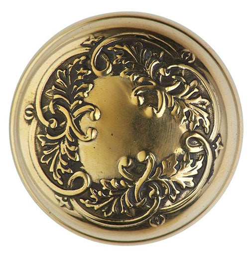 2 1/2 Inch Floral Leaf Door Knob With Feather Rosette