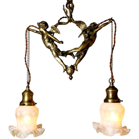 22 Inch Handmade Antique Cherub Two-Light Chandelier With Brass Chain