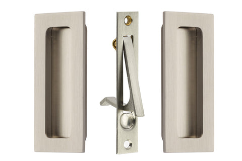 4 Inch Solid Brass Modern Rectangular Pocket Door Pull Set