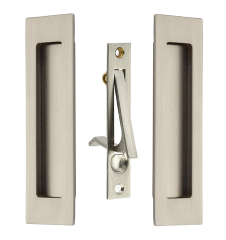 7 Inch Solid Brass Modern Rectangular Pocket Door Pull Set