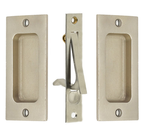 4 Inch Sandcast Rustic Modern Rectangular Pocket Door Pull Set