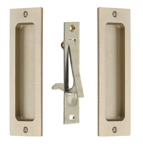 6 Inch Sandcast Rustic Modern Rectangular Pocket Door Pull Set